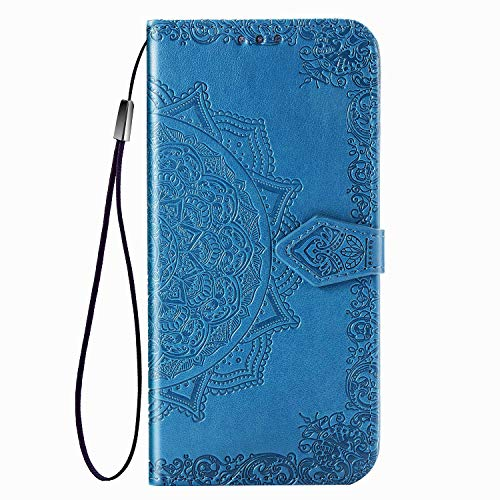 Fertuo Case for Asus Zenfone 7 ZS670KS, Premium Leather Flip Wallet Case with [Card Slots] [Kickstand] [Hand Strap] Mandala Flower Embossed Shockproof Cover Case for Asus Zenfone 7 ZS670KS, Blue