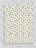 ABAKUHAUS Lluvia Tapiz de Pared, Las Gotitas Línea Discontinua, para el Dormitorio Apto Lavadora y Secadora Estampado Digital, 150 x 200 cm, Negro Y Gris Amarillento