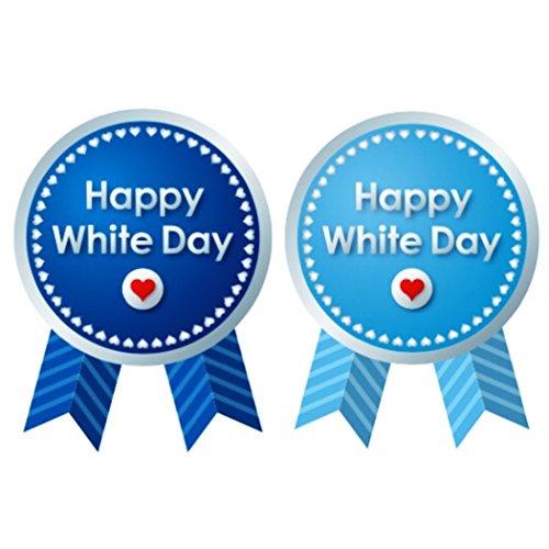 creve ホワイトデー whiteday ギフトシール ギフトステッカー ラッピングラベル 光沢 防水 業務用 (リボン型 4×3�p 2色 50枚セット)
