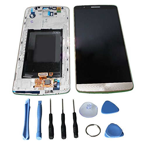 LCD display Touch Screen Digitizer Assembly for LG Optimus G3 D855 D850 LS990 with free tools (Gold + Frame)