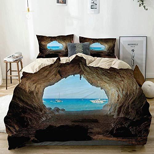 Juego de fundas nórdicas Beige, lugar de agujeros escondidos en The Rocks by The Ocean Exotic Sunset Reflection Sky Scene, juego de cama decorativo de 3 piezas Super King Size con 2 fundas de almohada