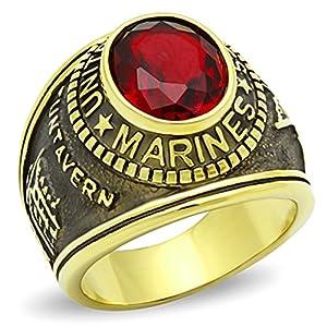 ISADY - US Marines Rubis Gold Edelstahl - Herren-Ring - Edelstahl und 585er 14K Gold platiert - Zirkonium rot