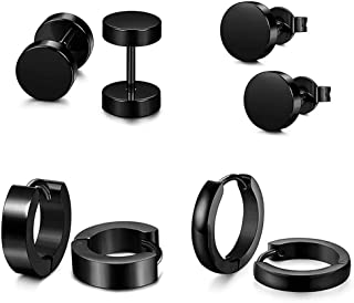 Rare 4 Pairs Fashion Men Women Stylish Round Dumbbell Set With Stainless Steel Ear Studs,Colour Name:Black (Color : Black)