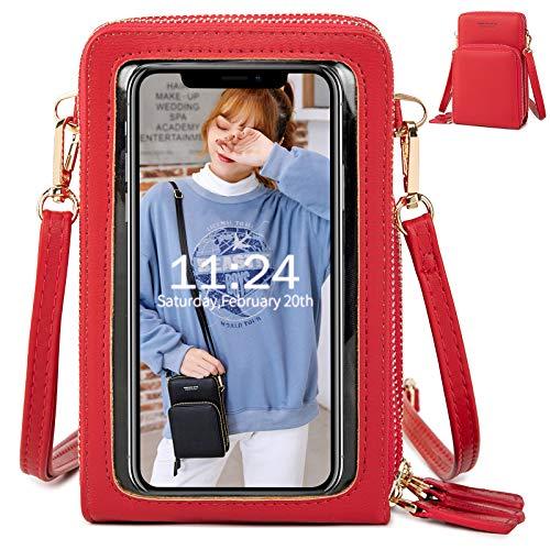 Handy Umhängetasche Damen, Touchscreen Tasche Kleine Crossbody Schultertasche Brieftasche Handtasche, 3 Reißverschluss Beutel mit Vielen Fächern Kartenfach Geldbörse für Handy unter 6.5 Zoll, Rot