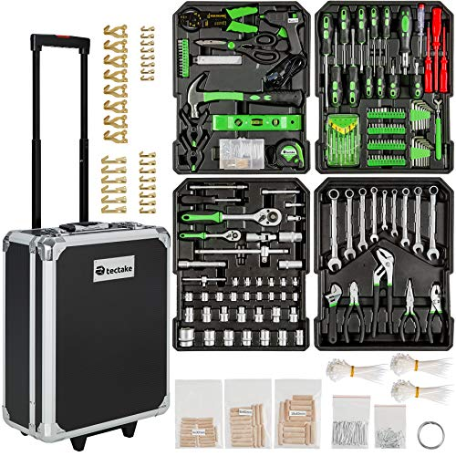 TecTake 401321- Set de herramientas, en maletín carrito portaherramientas de aluminio, 799...
