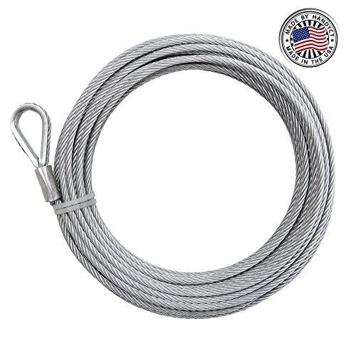Great Deal! 30ft Length Galvanized Cable with Loop on one end(2 Pack), 1/4in Thick