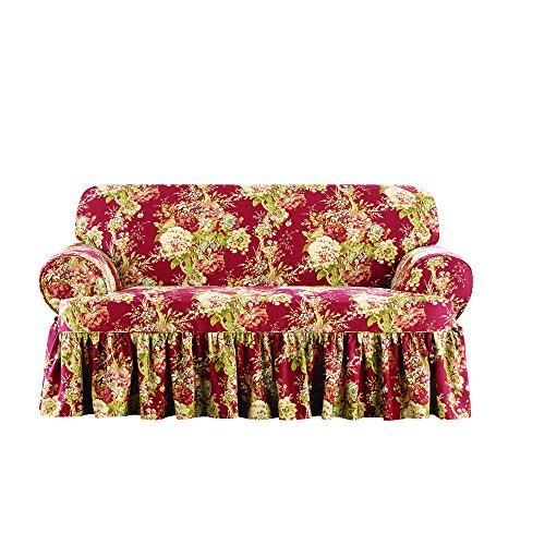 SURE FIT Ballad Bouquet by Waverly One Piece Loveseat Slipcover - Crimson