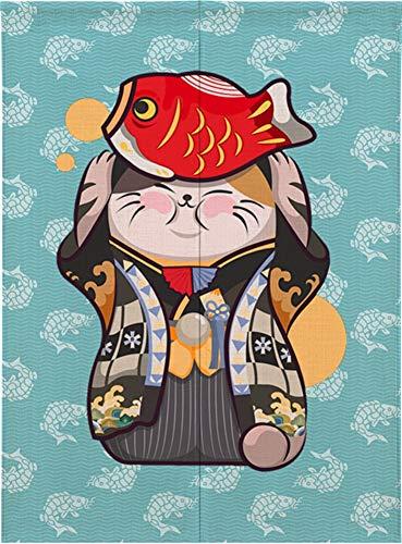 Ommda Noren Rideau Chinois Japonais Chat Chanceux Tapisserie Rideau de Lotus Noren Rideau Tapisserie avec Tige,Poisson Chat,90x150cm