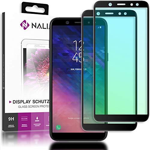 NALIA (2 Unidades) Cristal Templado Compatible con Samsung Galaxy A6 Plus, Vidrio Blindado Película Protectora 9H Film, LCD Screen-Protector de Pantalla Telefono Tempered-Glass - Transparente (Negro)