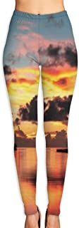 Yoga Pants Womens Panoramic Palm Tree Island Sunrise with Dramatic Clouds and Vibrant Sky Over High Waist Workout Pants