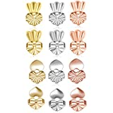 TQsuen Original Magic Earring Lifters, 6 Pairs Magic Backs for Earrings Adjustable Secure Earring Lifts Safety Drooping Earring Backs for Ear Lobe Lifter (2 Silver/ 2 Gold/ 2 Rose Gold) Style 1