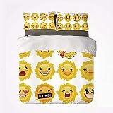 Conjunto de Funda nórdica Emoji Nice 3 Juego de Cama, Smiley Sorprendido Triste Caliente Feliz Sarcástico Humor Enojado Sol como Caras Impresión de Fondo Liso para Sala de Estar