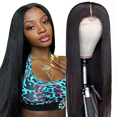 Lace Closure Wigs Human Hair Straight Human Hair Wigs 10A Glueless Virgin Brazilian Human Hair 4X4 Lace Front Closure Wigs Human Hair For Black Women 150% Density Pre Plucked With Baby Hair