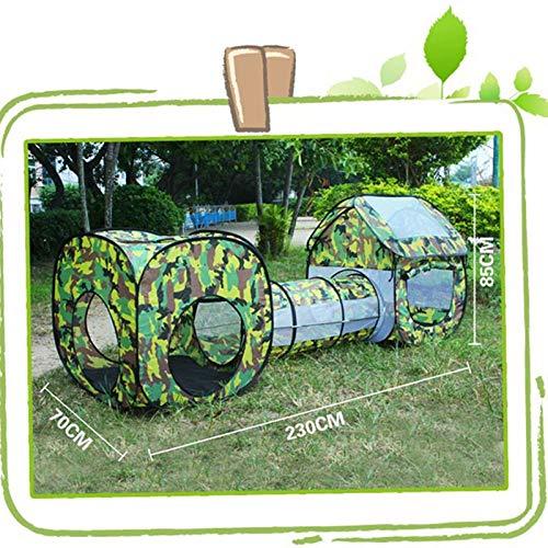 F&zbhzy Carpa Tienda de túnel al Aire Libre 230x70x85cm Tienda de campaña Impermeable de Dos Habitaciones Tienda de Verano Beach Playhouse para Juguetes de niños Regalo, Camuflaje