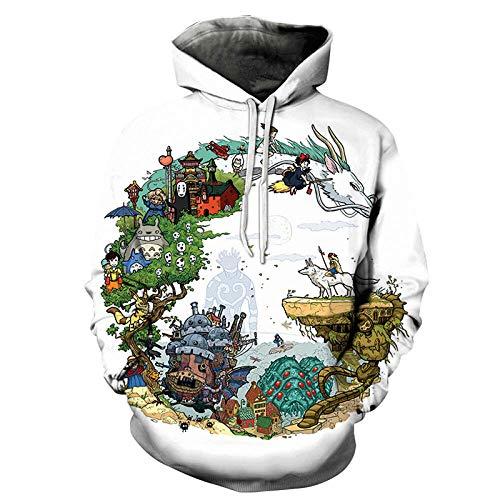 Mein Nachbar Totoro Loose Hooded Sweatshirt 3D Digitaldruck Sweatshirt Hoodie Sweatshirt Pullover Langarm Hoodie Lässige Sweatshirt-XXL