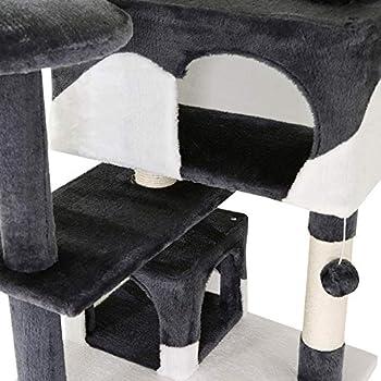 dibea Arbre à Chat avec griffoir Grattoir et Centre d'activités 130 cm Gris-Blanc