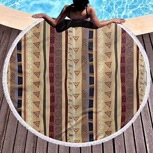 prunushome Beach Towel Tribal Popular Handicrafts Beach Towel Striped Ornament Soft, Fade Proof Beach & Pool Use (Diameter 59')