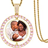TUHE Hip Hop Necklace Custom Picture Necklace Personalized 18K Gold Plated AAA CZ Iced out Double Side Pendant Photo Necklace for Men Women Memory Chain Necklace Customized Rope Tennis Platinum Plated