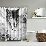 GWELL Tier Wasserdichter Duschvorhang Anti-Schimmel inkl. 12 Duschvorhangringe für Badezimmer 180x180cm Wolf