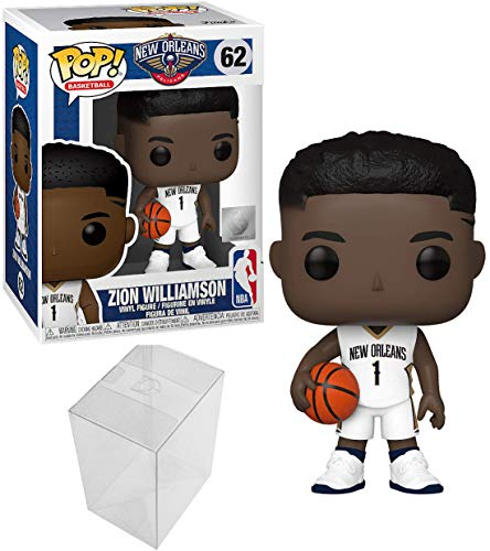 Funko Pop Zion Williamson NBA New Orleans Pelicans White Jersey 62 Bundle with 1 PopShield Pop Box Protector