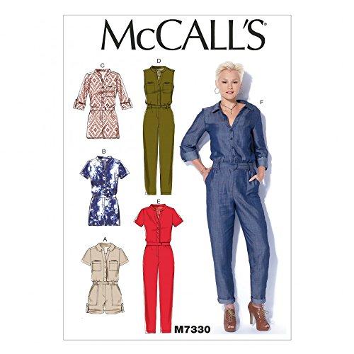 McCall 's Damen Schnittmuster 7330Button Up Strampelanzug & Jumpsuits