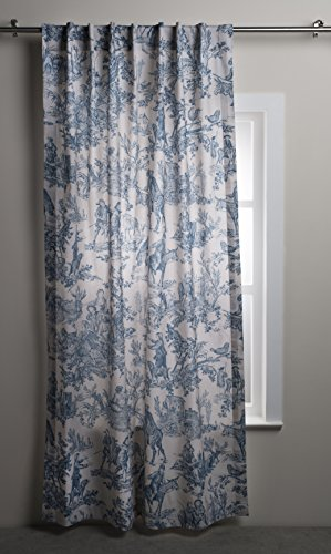 Maison d' Hermine The Miller 100% Cotton Curtain One Panel for Living Rooms Bedrooms Offices Tailored with a Rod Pocket and Loop for Easy Hanging (Denim, 50 Inch by 96 Inch).