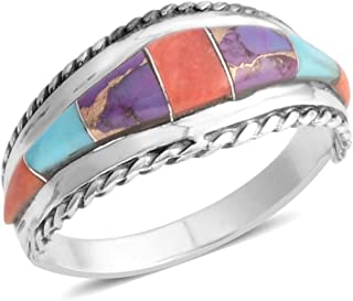 Band Ring 925 Sterling Silver Purple Turquoise Southwest Jewelry for Women