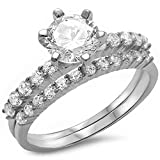 Oxford Diamond Co 2Ct Round Solitaire Wedding Set .925 Sterling Silver Ring Size 6