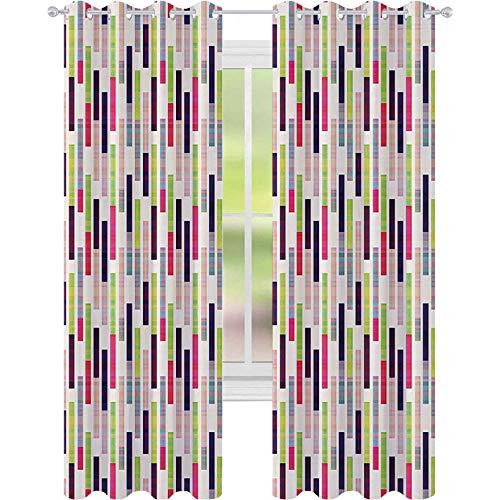 90 % -99 % cortina opaca, borde de repetición hipster futurista en azulejos brillantes obras de arte modernas, cortinas de 52 x 63 con ojales para habitación de niñas, color fucsia y lima