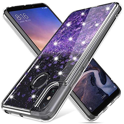 Gypsophilaa Funda Xiaomi Mi MAX 3 3D Glitter Liquido Brillante Silicona Purpurina Carcasa,Transparente Cristal Bumper Telefono Gel TPU Fundas Case Cover para Movil Mi MAX 3
