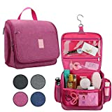 Japoece Toiletry Travel Bag, Large Capacity Cosmetics Bags Hanging Shower Shaving Organizer with Hook for Men Women Portable Waterproof Toiletry Organizer Kit (Rose red-1)