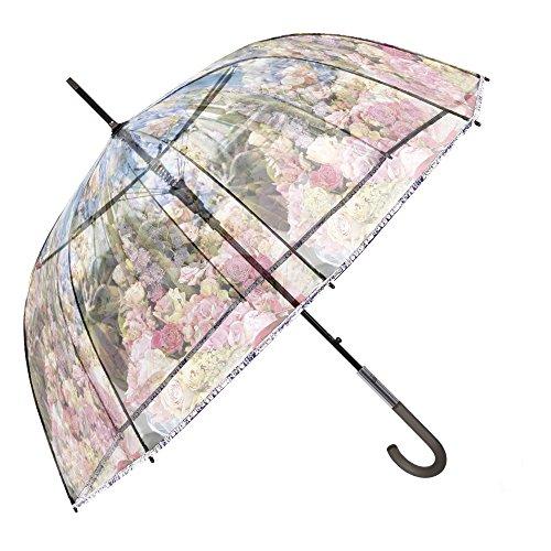 Paraguas Transparente Mujer - Paraguas Clásico de Burbuja Automatico - Estampado Flores - Fantasia a la Moda - Resistente Antiviento - 89 cm de diámetro - Perletti Chic - Rosa