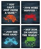 4er Set Gaming Poster,Bilder für Gamer,Videospiel Wandbild,Game Leinwand Wandkunst für Jungen Teenager Schlafzimmer Spielzimmer Kinderzimmer Geschenk Dekor,Lustige Zitate Bilder (20× 25CM) Ohne Rahmen