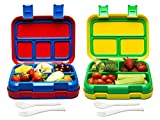 Bizz Large Travel Bento Box Set Lunch Boxes with Utensils, Kids Adults Removable Microwaveable,...
