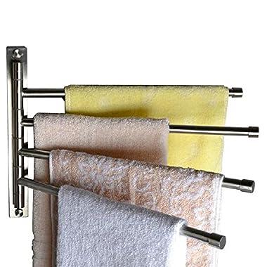 KES Swivel Towel Bar SUS 304 Stainless Steel 4-Arm Bathroom Swing Hanger Towel Rack Holder Storage Organizer Space Saving Wall Mount, Brushed Finish, A2102C-2
