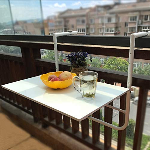 Desk Folding Wall-Mounted Table, A Space-Saving Floating Laptop, Wrought Iron Balcony Railing Hanging, for Balcony Garden Coffee Table