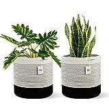 "POTEY 700304 Woven Cotton Rope Plant Basket for 10' Flower Pot Floor Indoor Planters, 11"" x 11"" Decorative Basket for Plants Storage Basket Organizer Modern Home Decor, 2 PCS Black & White Mix Stripes"