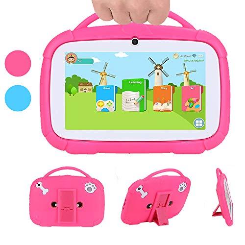 MIALX Tableta para Niños 7'HD, Quad Core Android 9.0 16 GB, Cámara Dual WiFi Bluetooth, Control Parental Y Software para Niños Preinstalado, Tableta PC para Juegos Educativos con Estuche,Rosado