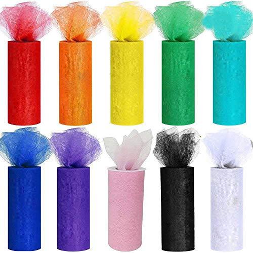 CozofLuv 10 DIY rollen tule rol tule tape tule deco stof tafelband Dekoband tule net 10 kleuren voor bruiloft party banket rok kleding decoratie handwerk