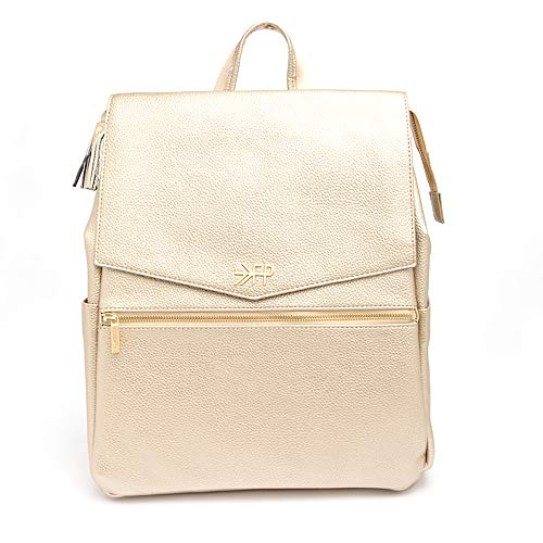 Freshly Picked - Convertible Classic Diaper Bag Backpack - Large Internal Storage 10 Pockets Wipeable Vegan Leather - Platinum Gold