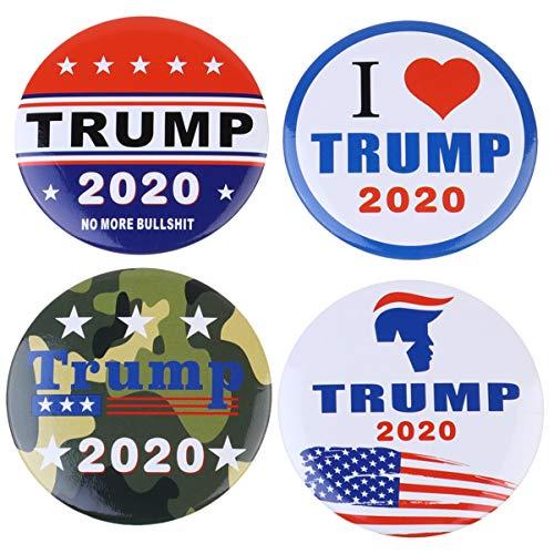 STOBOK Brosche Trump 2020 Wahlen Runde Buttons Kampagne Unterstützung Pins Präsident Stifte Abzeichen Partei Prop Brustnadel für Präsidentschaftswahl 4St.
