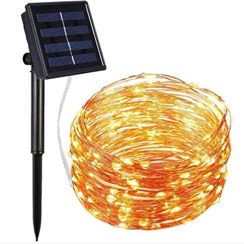 led solar koperen lichtsnoer, twee functies afstandsbediening buiten waterdichte tuindecoratie lantaarn-20 meter 200 lampjes warm wit