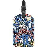 TIZORAX Etiquetas de equipaje de color con diseño de pulpos viejos y peces, botes y maletas de viaje de cuero, 1 paquetes