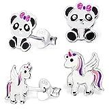 2 pares de pendientes Pegasus unicornio + oso panda de plata de ley 925 para niñas