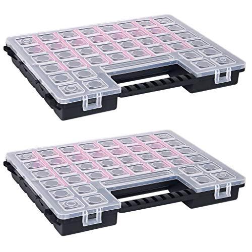 vidaXL 2x Caja Compartimentos Divisores Ajustable Organizador de Herramientas Maletín de Almacenajes...