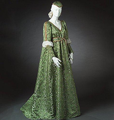 McCalls Cosplay Damen Schnittmuster 2020 historisches bodenlanges Kleid, Ärmel, Gürtel und Kappe.