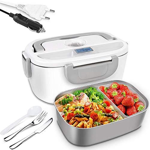 Surnous Elektrische Lunchbox 3 in 1, 24V 12V 220V Büro-Brotdose, 1.5L herausnehmbarer Edelstahlbehälter 304 für Autos, LKWs, Büros, Edelstahlmesser und -Gabel und-Plastiklöffel,Grau