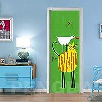室内ドア用3Dドアステッカー漫画の動物の猫 88x200cm防水自己接着キッズバスルームベイビーボーイズガールズベッドルームトイレビニールホームデコレーションデカールデコアートデコレーション