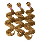 Synthetic Weave Body Wave Hair Bundles Extensions Color 27# 16 18 20 Inches 3 Bundles Heat Resistant Fiber Can Be Flat Ironed