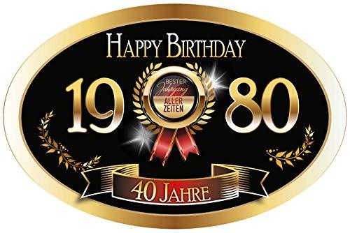 """""""Bester Jahrgang - 40 Jahre - Happy Birthday"""" 1980 der beste Jahrgang aller Zeiten Aufkleber"""